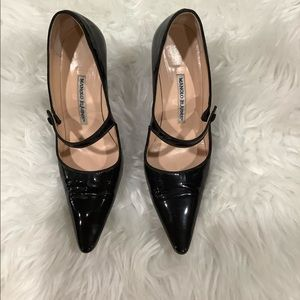 MANOLO BLAHNIK CAMPARI BLACK EUC MARY JANE